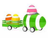 Easter egg figure. With car and trailer Royalty Free Stock Photos