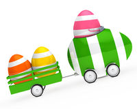 Easter egg figure. With car and trailer Stock Photos