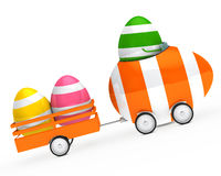 Easter egg figure. With car and trailer Royalty Free Stock Photography
