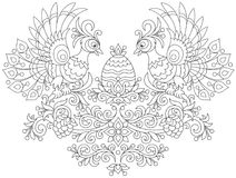 Easter egg and Firebirds. Ornate egg and two peacocks among decorative leaves, flowers and berries, a black and white vector illustration for a coloring book Royalty Free Stock Photo