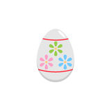Easter egg flat icon, religion holiday elements. Egg with flowers, a colorful linear pattern on a white background, eps 10 stock illustration