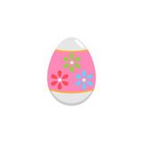 Easter egg flat icon, religion holiday elements. Egg with flowers, a colorful solid pattern on a white background, eps 10 stock illustration