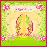 Easter Egg On floral Background Royalty Free Stock Photography