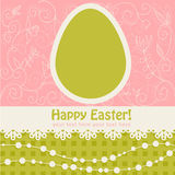 Easter Egg Floral Card With Lace Stock Photography