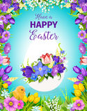 Easter egg floral greeting card with flower frame. Easter egg floral greeting card. Easter egg, decorated by flower wreath of tulip, narcissus and crocus with Royalty Free Stock Images
