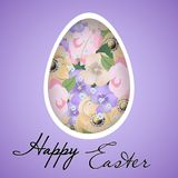 Easter egg with floral ornament carved on the paper.. Paschal greeting card. Vector. Illustration Royalty Free Stock Photos