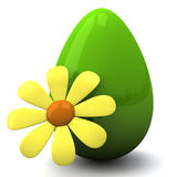 Easter egg with flower, 3d Stock Photography
