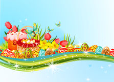 Easter egg and flower banner with copy space Stock Photo