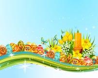Easter egg and flower banner for holiday design Stock Photo