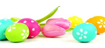 Easter egg and flower border Stock Images
