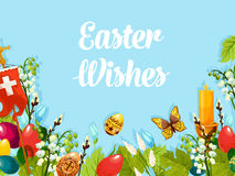Easter egg, flower, cross, candle cartoon poster Royalty Free Stock Photo