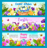 Easter egg with flower greeting banner template Stock Images
