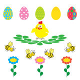 Easter egg and flower on white background Stock Image