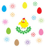 Easter egg and flower on white background Stock Images