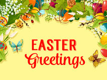Easter egg, flower and willow greeting card design Stock Photos