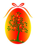 Easter egg with flowering tree decor Royalty Free Stock Image