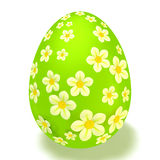 Easter egg with flowers. Green Egg with white flowers on a white background Royalty Free Stock Photo
