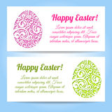 Easter egg on flowers background. Royalty Free Stock Image