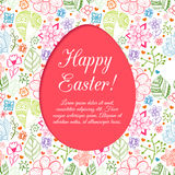 Easter egg on flowers background. Royalty Free Stock Images