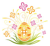 Easter, egg, flowers. Colorful easter decoration, easter egg with flowers Royalty Free Stock Image