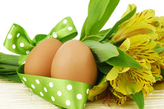 Easter egg with flowers isolated Stock Photo