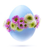 Easter egg  flowers Isolated on white background Royalty Free Stock Photography