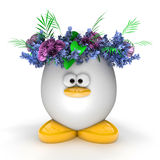 Easter egg with flowers isolated on white Royalty Free Stock Photography