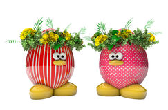 Easter egg with flowers isolated on white Stock Images