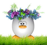 Easter egg with flowers isolated on white Stock Photo