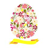 Easter egg from flowers with a tape. Stock Images