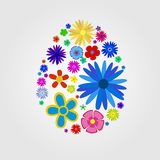 Easter egg with flowers. Easter egg from flowers, vector art illustration for Easter Stock Image