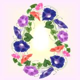 Easter egg bindweed flowers bouquet climbing wavy bells, convolvulus. Easter egg in the form of a wreath of flowers of convolvulus , bindweed of blue, philet and Stock Image