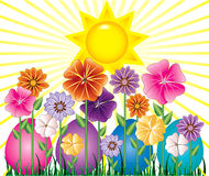 Easter Egg Garden. Vector illstration of a Spring Day with Sunshine and Easter Egg Garden with grass Stock Images