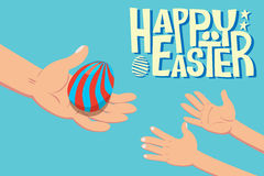 Easter egg giving children. A hand holding easter egg giving to children hand with word Happy Easter Royalty Free Stock Photos