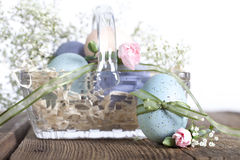 Easter Egg Glass Basket Royalty Free Stock Photography