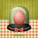 Easter egg in  glass Cloche. Festive greeting card or banner Easter egg in  glass Cloche. Computer graphics Stock Images