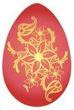 Easter Egg with Golden Flowers. Red Easter Egg with Floral Decoration. Easter Egg with Golden Flowers. Red Easter Egg with Beautiful floral Decoration vector illustration