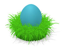 Easter egg in grass. 3d illustration of a red easter egg in a tuft of grass Royalty Free Stock Photography