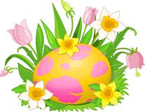 Easter egg in a grass stock illustration