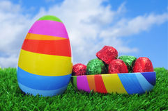 Easter egg on the grass Royalty Free Stock Photos