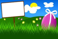 Easter egg in the grass with blue sky Stock Photos