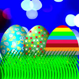 Easter egg on grass and bokeh background Stock Images