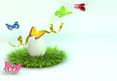 Easter egg on the grass. 3d rendering. Royalty Free Stock Image