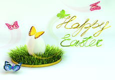 Easter egg on the grass. 3d rendering. Royalty Free Stock Images