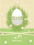 Easter Egg with grass flowers ribbon Royalty Free Stock Photos