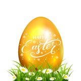 Easter egg in grass with flowers on white background. Golden Easter egg with grass and white flowers. Lettering Happy Easter, illustration Stock Photo
