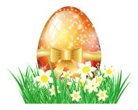 Easter egg in grass isolated Royalty Free Stock Photo
