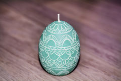 Easter egg green  candle Stock Images
