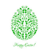 Easter egg with green floral ornament over white Stock Photo