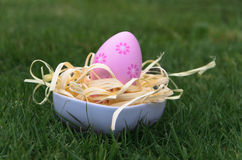Easter egg in green grass Royalty Free Stock Photo